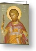 Egg Tempera Painting Greeting Cards - St Alexander Nevsky Greeting Card by Julia Bridget Hayes