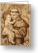 Wood Pyrography Greeting Cards - St. Anthony Greeting Card by Conrad  Pinto
