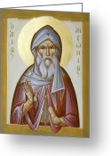 Byzantine Icon Greeting Cards - St Anthony the Great Greeting Card by Julia Bridget Hayes