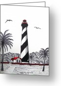 Historic Lighthouse Drawings Greeting Cards - St Augustine Lighthouse Drawing Greeting Card by Frederic Kohli
