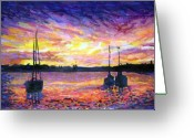 Florida Bridge Mixed Media Greeting Cards - St. Augustine Sunrise Greeting Card by Suzanne  Frie