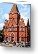 Catholic Painting Greeting Cards - St. Augustines Church Greeting Card by Deb Putnam