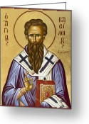 Icon Byzantine Greeting Cards - St Basil the Great Greeting Card by Julia Bridget Hayes