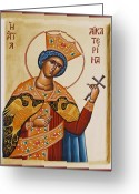 Byzantine Icon Greeting Cards - St Catherine Greeting Card by Julia Bridget Hayes