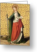Alexandria Greeting Cards - St. Catherine of Alexandria Greeting Card by Josse Lieferinxe