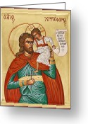 Byzantine Icon Greeting Cards - St Christopher Greeting Card by Julia Bridget Hayes