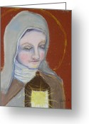Assisi Greeting Cards - St. Clare of Assisi II Greeting Card by Susan  Clark