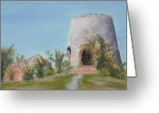 Tropical Island Pastels Greeting Cards - St. Croix Sugar Mill Greeting Card by Mary Benke