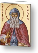 Byzantine Icon Greeting Cards - St David of Evia Greeting Card by Julia Bridget Hayes