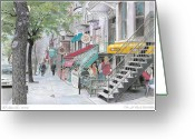 City Scene Drawings Greeting Cards - St-Denis Street Greeting Card by Wilfrid Barbier