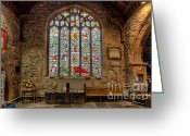 Graveyard Digital Art Greeting Cards - St Dyfnog Greeting Card by Adrian Evans