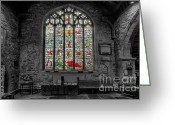 Graveyard Digital Art Greeting Cards - St Dyfnog Window Greeting Card by Adrian Evans