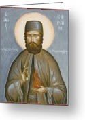 Byzantine Icon Greeting Cards - St Efraim of Nea Makri Greeting Card by Julia Bridget Hayes