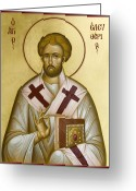Icon Byzantine Greeting Cards - St Eleftherios Greeting Card by Julia Bridget Hayes