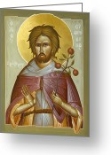Byzantine Icon Greeting Cards - St Euphrosynos the Cook Greeting Card by Julia Bridget Hayes