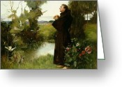 Talking Birds Greeting Cards - St. Francis Greeting Card by Albert Chevallier Tayler