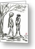 Contemplation Greeting Cards - St. Francis and St. Clare Greeting Card by Jason Honeycutt