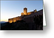 Assisi Greeting Cards - St Francis Assisi at Sundown Greeting Card by Jon Berghoff