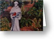St Francis Prayer Greeting Cards - St Francis In The Garden Greeting Card by Marita McVeigh