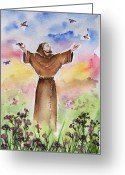 Catholic Painting Greeting Cards - St Francis of Assisi Greeting Card by Regina Ammerman