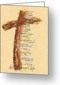 Catholic Painting Greeting Cards - St Francis Peace Prayer  Greeting Card by Judy Dodds