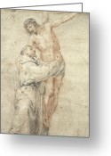 Embracing Greeting Cards - St Francis Rejecting the World and Embracing Christ Greeting Card by Bartolome Esteban Murillo