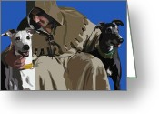 Francis Digital Art Greeting Cards - St. Francis with Two Greyhounds Greeting Card by Kris Hackleman