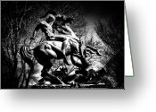 White White Horse Digital Art Greeting Cards - St. George and the Dragon Greeting Card by Bill Cannon
