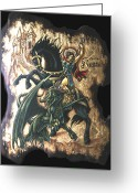 Byzantine Icon Greeting Cards - st George fighting the Dragon Greeting Card by Iosif Ioan Chezan