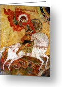 Byzantine Icon Greeting Cards - St George I Greeting Card by Tanya Ilyakhova