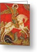 Byzantine Icon Greeting Cards - St George II Greeting Card by Tanya Ilyakhova