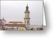 Georg Greeting Cards - St. George in Snow - Freising Bavaria Germany Greeting Card by Christine Till