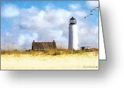 Safe Haven Greeting Cards - St. George Island Lighthouse Greeting Card by Rhonda Strickland