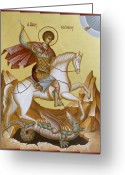 Byzantine Icon Greeting Cards - St George Greeting Card by Julia Bridget Hayes