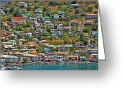 Caribbean Homes Greeting Cards - St. Georges Harbor Grenada Greeting Card by Don Schwartz
