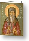 Byzantine Icon Greeting Cards - St Gerasimos of Kefalonia Greeting Card by Julia Bridget Hayes