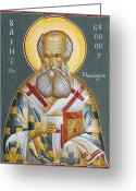 Egg Tempera Greeting Cards - St Gregory the Theologian Greeting Card by Julia Bridget Hayes