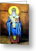 Bible Mixed Media Greeting Cards - St Ignautius Greeting Card by Murali