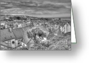 Slates Greeting Cards - St. Ives Rooftops Greeting Card by Allan Briggs