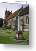 Churchyard Greeting Cards - St James the Less Church Greeting Card by Andy Smy