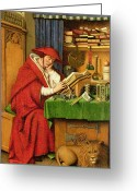 Lions Painting Greeting Cards - St. Jerome in his Study  Greeting Card by Jan van Eyck