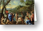 Poussin Greeting Cards - St John Baptising the People Greeting Card by Nicolas Poussin