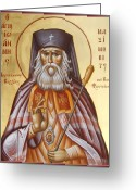 Byzantine Icon Greeting Cards - St John of Shanghai and San Francisco Greeting Card by Julia Bridget Hayes