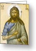 Icon Byzantine Greeting Cards - St John the Forerunner Greeting Card by Julia Bridget Hayes