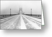 Blizzard Greeting Cards - St. Johns Bridge In Snow Greeting Card by Zeb Andrews
