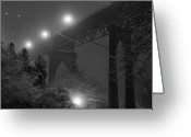 Suspension Bridge Greeting Cards - St. Johns Bridge On Snowy Evening Greeting Card by Zeb Andrews