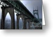 Thelightscene Greeting Cards - St Johns Bridge Oregon Greeting Card by Bob Christopher