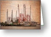 Intercoastal Greeting Cards - St Johns Shrimping Greeting Card by Debra and Dave Vanderlaan