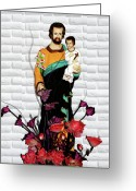 Christ Child Greeting Cards - St Joseph holding Baby Jesus - Catholic Church Qibao China Greeting Card by Christine Till