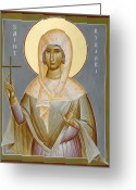 Byzantine Icon Greeting Cards - St Kyriaki Greeting Card by Julia Bridget Hayes